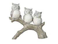 3 Eulen Gruppe Eule Uhu Kauz Schneeeule Skulptur Deko Baum Vogel Figur Statue