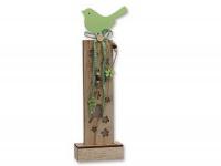Deko Holz Säule LED beleuchtet Vogel Spatz Blume Figur Skulptur Dekosäule Sockel