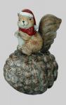 Eichhörnchen auf Zapfen Eichel Deko Tier Figur Weihnachts Skulptur Eichkatzerl