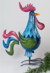 Hahn Huhn Vogel Skulptur Metall Teelichthalter Garten Deko Figur Kerzenhalter