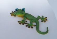 Gecko Eidechse Lurch Echse Drache Deko Tier Figur Skulptur Wanddeko Wandbild