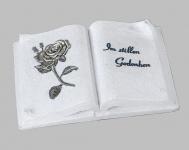 Grabschmuck Grabstein Gedenkstein Buch mit Spruch Rose Grabdeko Grab Deko Figur