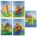 5 Osterkarten Grußkarten Glückwunschkarten bunte Karte Ostern Blumen