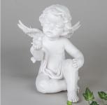 Engel Schutzengel Dekoengel mit Vogel Dekofigur Skulptur Grabschmuck Figur Deko