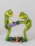 Frosch Paar Hose Kröte Lurch Gecko Deko Tier Figur Skulptur König Laubfrosch