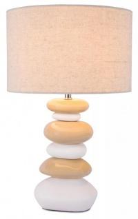 Lampe H x B: 45x28cm Keramik Weiß Natur Steinoptik Tischleuchte Design