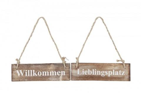 2er Set Wandbilder Sprüche 20x6cm Holz Lieblingsplatz Willkommen Türschild Deko
