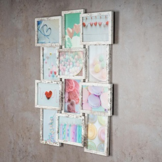 levandeo Bilderrahmen Collage 51x68cm 12 Fotos 13x18 Shabby Chic MDF Holz Glas - Vorschau 3