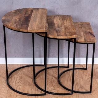 3er Set halbrunde Couchtische Mango Natur Eisen Schwarz Design Holz Beistelltisch - Vorschau 3