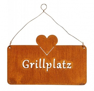 Schild Grillplatz 25x16cm Herz Garten-Deko Türschild Edelrost Wandbild Grillen