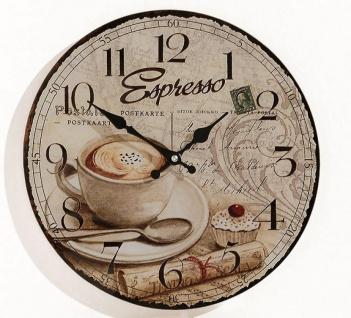Wanduhr Holz Espresso Kaffee Cafe Coffee Cappuccino Uhr Holz