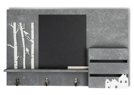 Memoboard Organizer Holz B x H x T: 47x30x8cm Kreidetafel Garderobe Beton Optik