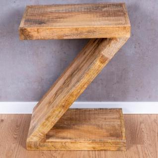 Beistelltisch Z Mango H60cm Holz Braun Natur Massiv Couchtisch Sofatisch Ablage - Vorschau 3