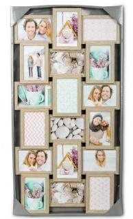 levandeo Bilderrahmen Collage 44x85cm 18 Fotos 10x15 Eiche gekälkt Holz MDF Glas - Vorschau 5