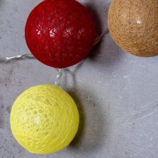 10er Lichterkette LED Ø6cm Kugeln Girlande Lampions Baumwolle Rot Gelb Deko - Vorschau 4