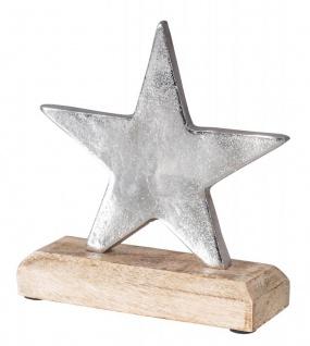 Stern 16x17cm Metall Mango Silber Braun Tischdeko Holz Metallstern Dekoration