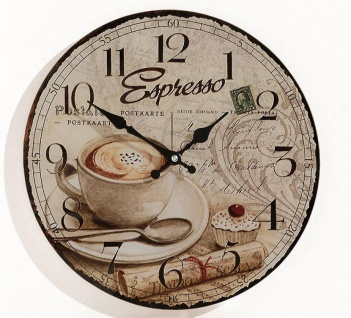 Wanduhr Glas Espresso Kaffee Cafe Coffee Cappuccino Uhr Glasuhr