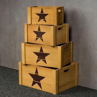 4er Set Holzkisten Vintage Shabby Chic Braun Stern Kiste Weinkiste Deko - Vorschau 2