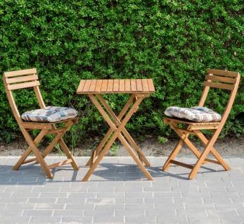 5tlg. Balkonmöbel Set Tisch Stühle Stuhlkissen Akazienholz Garten - Vorschau 2