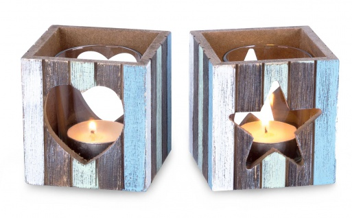 2er Set Teelichthalter 7, 5 x 8 cm WindlichtHolz Herz Stern Maritim mit Glas