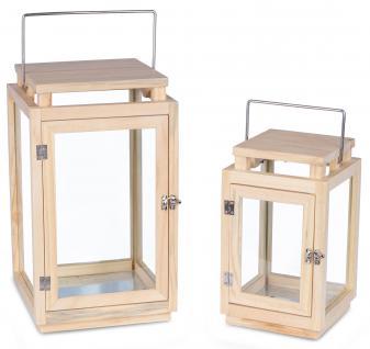 Laterne 2er Set 30cm 41cm Kiefernholz Glas Natur Windlicht Deko