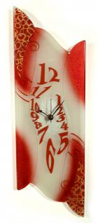 Design Wanduhr 50x16cm Red Beauty aus Glas Glasuhr Unikat Handarbeit