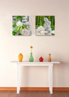 levandeo 2er Set Glasbild 30x30cm Buddha Weiße Orchidee Bambus Wandbild Deko - Vorschau 5