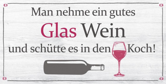 Wandbild 40x20cm Wein Spruch Koch Küche Deko Wandschild Wanddeko Bild Küchendeko
