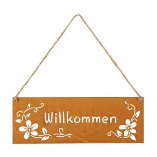 Schild Willkommen 25x9cm Außen Garten-Deko Rost Blumen Metall Türschild Wandbild