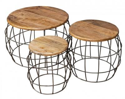 3er Set Couchtische Mango Rund Natur Eisen Metall Design Holz Beistelltisch