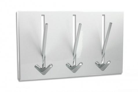 3 Wandhaken Pfeil Wandgarderobe Weiß Garderobe Metall Chrom Haken