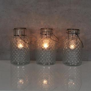 3er Set Windlicht H26cm Glas Laterne Weiß Gartenleuchte Kerzenhalter Garten Deko - Vorschau 5