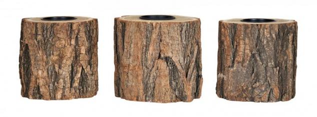 3er Set Teelichthalter Holz H10cm Kerzenhalter Kerzenständer Baum Natur Unikat