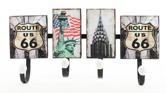 Wandgarderobe aus Metall City New York USA Route 66 Amerika Garderobe