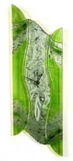 Design Wanduhr 50x16cm Verde Epoche aus Glas Glasuhr Unikat Handarbeit