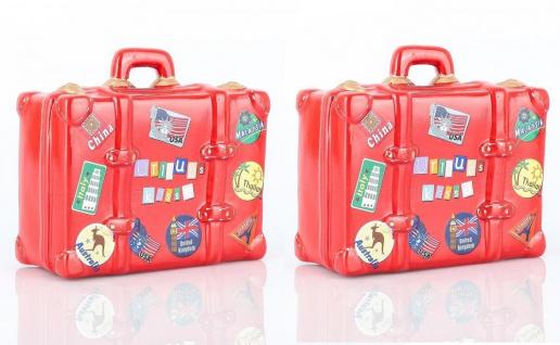 2er Set Spardose Sparkoffer Sparbüchse je 14 x 13 cm Rot Koffer Urlaub