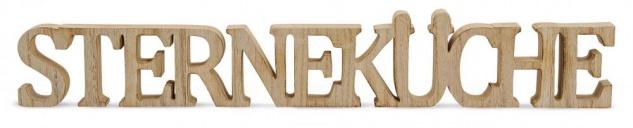 Buchstaben Sterneküche 59x8x2, 5cm Holz Natur Braun Schriftzug