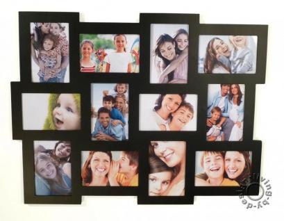Fotogalerie aus Holz in schwarz für 12 Fotos schwarze Fotocollage