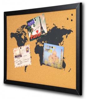 Gerahmte Pinnwand 60x40 Kork-Platte Holzrahmen Weltkarte Map Deko Schwarz