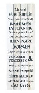 XXL Wandschild H x B: 120x40cm Holz Familienregeln Wandbild Vintage Shabby Chic