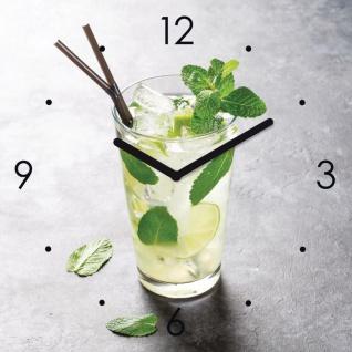 Wanduhr Glas 30x30cm Cocktail Limette Glasuhr Uhr Glasbild Küche Bar Deko