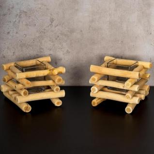 2er Set Teelichthalter Treibholz 15 x 15 cm Holz Glaseinsatz Kerzenhalter - Vorschau 2
