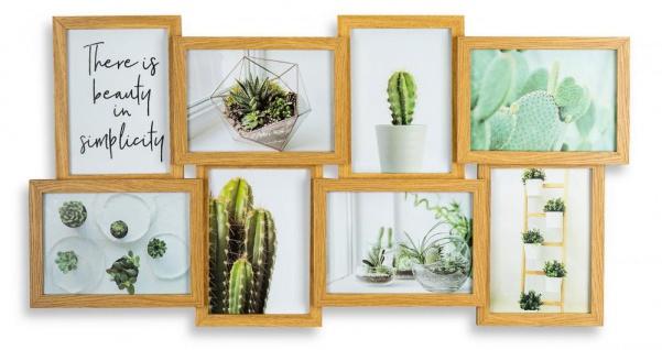 levandeo Bilderrahmen Collage 68x36cm 8 Fotos 13x18 Eiche MDF Holz Glasscheiben