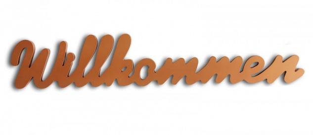 Schriftzug Willkommen kupfer Holz zum Hängen Wandobjekt Dekoration