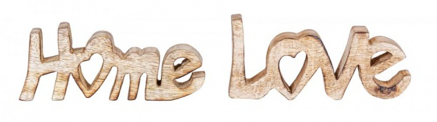 Schriftzug Set Love Home BxH 14x7cm Braun Mango Holz Natur Deko Aufsteller Liebe