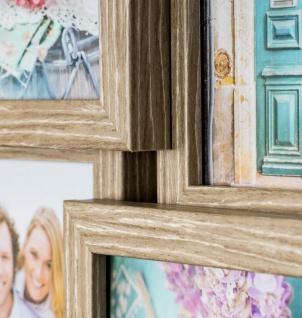 levandeo Bilderrahmen Collage 44x85cm 18 Fotos 10x15 Eiche gekälkt Holz MDF Glas - Vorschau 4
