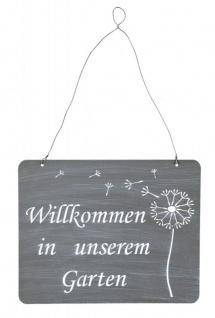 Schild Willkommen Im Garten 31x25cm Deko Grau Pusteblume Eisen Wandbild
