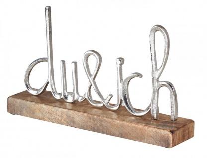 Schriftzug Du Und Ich L25cm Silber Mango Holz Tischdeko Geschenk Aufsteller Deko