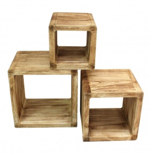 3er Set Regal-Cube 44x35cm Holzregal Holz Board Used-Design Würfelregal Natur