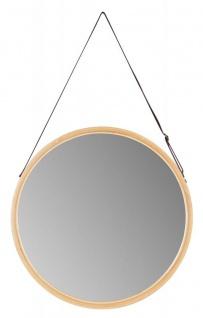 Spiegel 38cm Rund Bambus Holz Kunstleder Wandspiegel Flurspiegel Wanddeko Deko